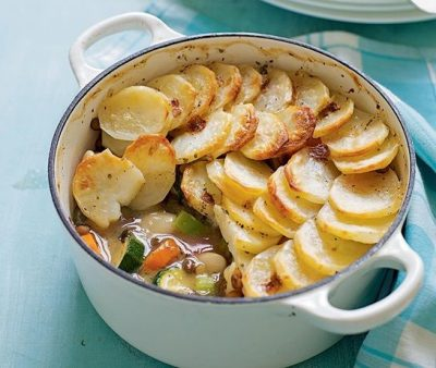 Beany vegetable hotpot layered with potatoes, recipe from Katie Rushworth