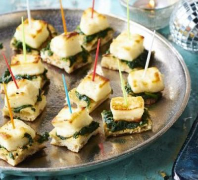 Halloumi, spinach and naan bites. Easy finger food recipes