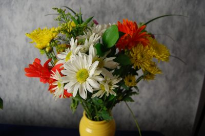 A vase of home grown flowers