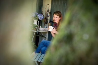 Celebrity gardener Katie Rushworth in her home garden
