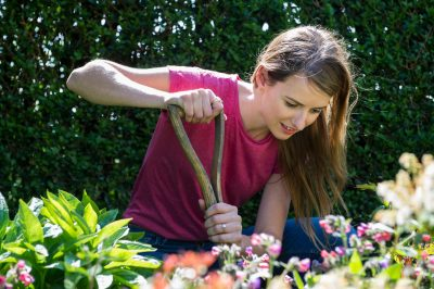 ITV gardener Katie Rushworth tends her garden at home