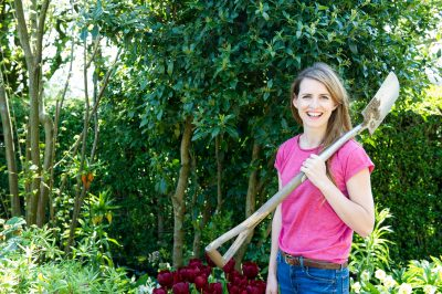 TV gardener Katie Rushworth at home in her garden